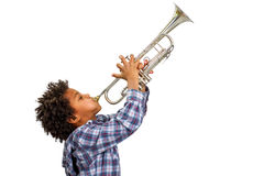 Trombettista che gioca i blu Fotografia Stock Libera da Diritti