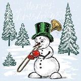 Trombettista del pupazzo di neve nel tempo di Natale Fotografia Stock Libera da Diritti