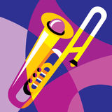 Trombone. Vector image trombone. Stylization of color overlapping forms royalty free illustration