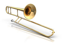 Trombone. 3D rendered trombone on reflective white background Stock Image