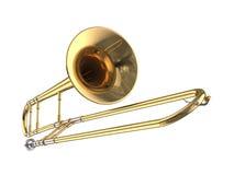 Trombone. 3D rendered trombone on white background stock illustration