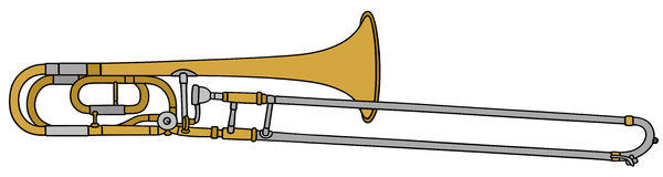 Trombone. Hand drawing of a trombone Royalty Free Stock Photos