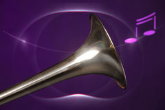 Trombone Bell Isolated On Purple Royalty Free Stock Image