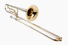 Trombone. Brass slide trombone on a white background Royalty Free Stock Photography