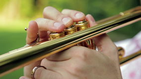 Trombone closeup. A Man Playing On Trombone stock video footage