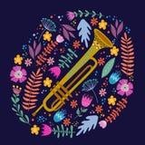 Trombone d'isolement et feuilles et fleurs lumineuses sur le fond bleu Main dessinant le vecteur plat folklorique de griffonnages illustration de vecteur