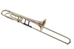 Trombone d'ottone classico dello strumento musicale isolato su fondo bianco fotografia stock libera da diritti