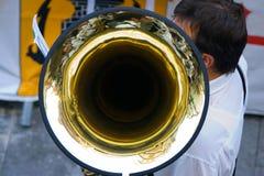 Trombone del músico Imágenes de archivo libres de regalías