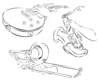 trombone, guitar, saxophone, set of line arts Stock Photos