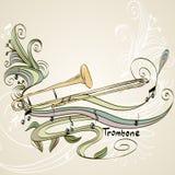 Trombone. Hand drawn trombone on a light background royalty free illustration