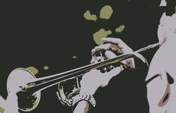 Trombone Player in Band Abstract. The trombone is an important part of the band and it helps to keep the rhythm with other musicians in the band. All together royalty free illustration
