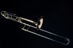 Trombone Isolated On Black Stock Photos