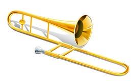Trombone musical instrument. Illustration on white background royalty free illustration