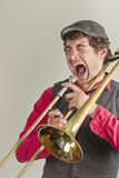 Trombone Musician Yelling Royalty Free Stock Image
