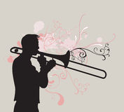 Trombone player. Illustration of a man playing trombone royalty free illustration