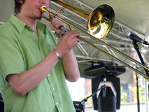 Trombone player Stock Image