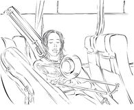 Trombone player in the bus Stock Images