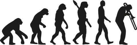 Trombone player evolution. Music vector vector illustration