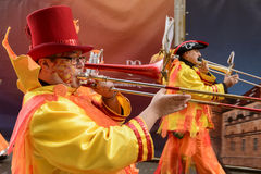Trombone player of marching band at Carnival parade, Stuttgart Royalty Free Stock Photography