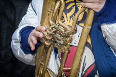 Trombone player Stock Images