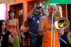 Trombone player in the street. Stock Photos