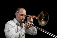 Trombone player Stock Photo