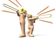 Trombone players. Are playing their instruments. This is a computer generated image,on white background royalty free illustration
