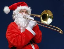Trombone Santa Stock Image