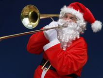 Trombone Santa Stock Photography