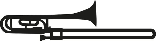 Trombone silhouette music. Trombone silhouette instrument music vector stock illustration