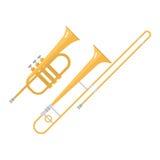 Trombone tuba trumpet classical sound vector illustration. Stock Photo