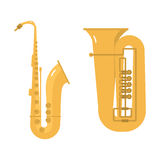 Trombone tuba trumpet classical sound vector illustration. Stock Images