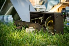 Hurricane Harvey Aftermath. Trombone in the years of a Houston area home devastated after Hurricane Harvey stock photography