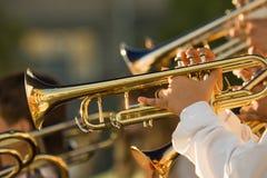 Trombones do ouro Foto de Stock Royalty Free