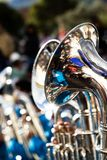 Trombones playing in a big band. Royalty Free Stock Photography
