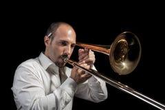 Trombonespeler Stock Foto