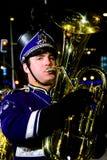 Trombonespeler bij nacht Royalty-vrije Stock Afbeelding