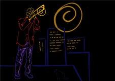 Trombonistspelen op het dak De illustratie van de nachtjazz royalty-vrije illustratie