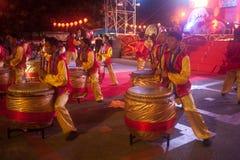 Trommel die in Chinees Nieuwjaar dansen. Royalty-vrije Stock Foto's