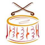Trommel en trommelstokken, muzikaal instrument vector illustratie