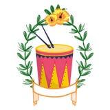 Trommel en trommelstokken op lauwerkrans royalty-vrije illustratie