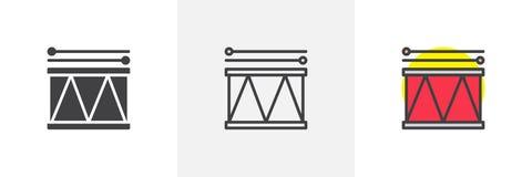 Trommel en van de trommelstokken verschillende stijl pictogrammen vector illustratie