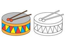 Trommel Farbtonseite Lernspiel für Vorschulkinder lizenzfreie abbildung