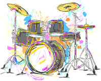 Trommel-Malerei-Vektor-Kunst stock abbildung