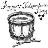 Trommel met drumstiks, Amerikaans symbool, vooruit van juli, Hand getrokken schets, dag van de tekst de gelukkige onafhankelijkhe Stock Foto