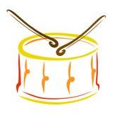 Trommel met trommelstokken, schets, muzikaal instrument stock illustratie