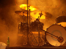 Trommel-stellen Sie vor dem Konzert ein Stockfoto