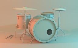 Trommel stellte die Einbeziehung der Schlinge, Tom, große Trommel, Floortom, hallo Hut, Becken und Trommelstöcke ein Lizenzfreies Stockbild