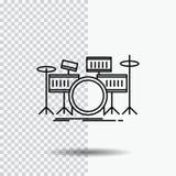 Trommel, Trommeln, Instrument, Ausrüstung, musikalische Linie Ikone auf transparentem Hintergrund Schwarze Ikonenvektorillustrati vektor abbildung