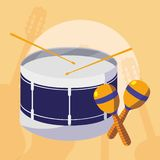 Trommel- und maracasinstrumente musikalisch vektor abbildung